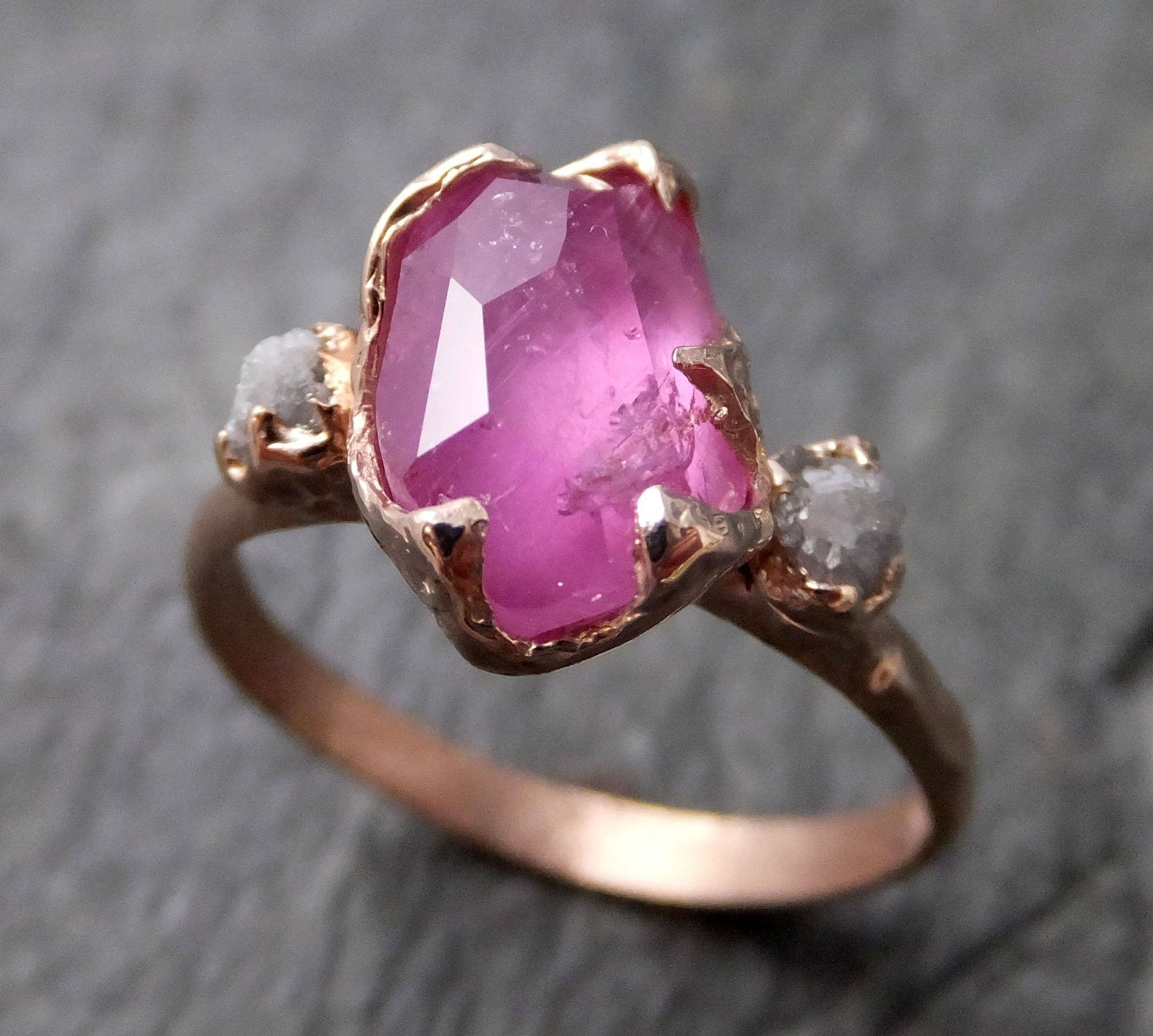 Partially Faceted Sapphire Raw Multi stone Rough Diamond 14k rose ...
