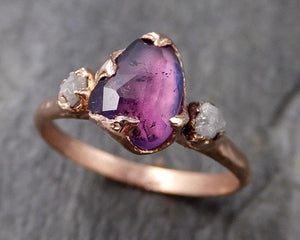 Partially Faceted Sapphire Raw Multi stone Rough Diamond 14k rose Gold Engagement Ring Wedding Ring Custom One Of a Kind Gemstone Ring 1205