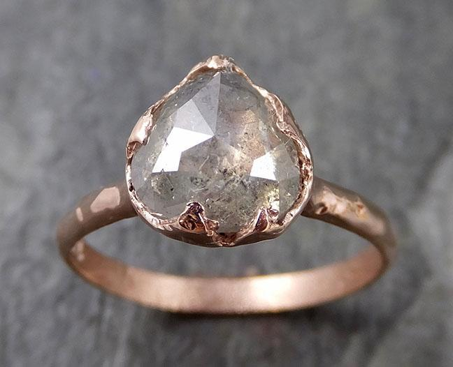Faceted Fancy cut white Diamond Solitaire Engagement 14k Rose Gold Wedding Ring byAngeline 1207