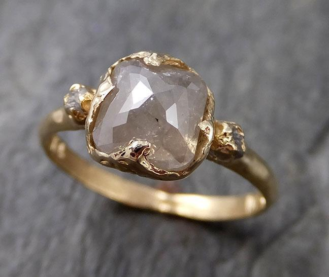 Faceted Fancy cut white Diamond Multi stone Engagement 14k Yellow Gold Wedding Ring byAngeline 1208