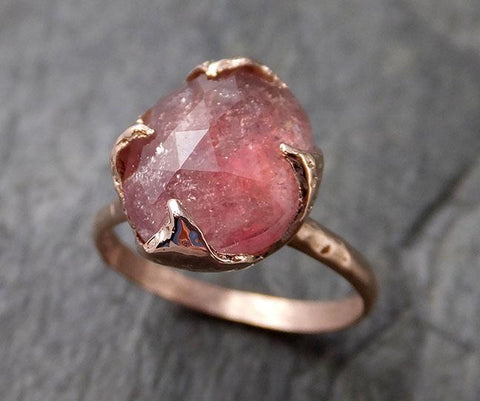 Fancy cut Pink Tourmaline Rose Gold Ring Gemstone Solitaire recycled 14k statement cocktail statement 1210