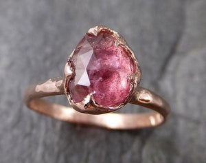 Fancy cut Pink Tourmaline Rose Gold Ring Gemstone Solitaire recycled 14k statement cocktail statement 1212