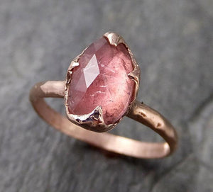 Fancy cut Pink Tourmaline Rose Gold Ring Gemstone Solitaire recycled 14k statement cocktail statement 1213