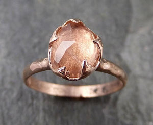 Fancy cut peach / champagne Tourmaline Rose Gold Ring Gemstone Solitaire recycled 14k statement cocktail statement 1214