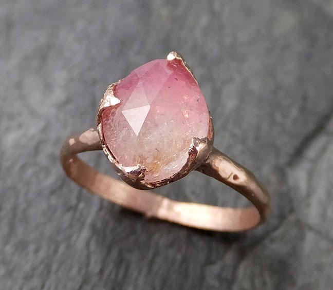 Fancy cut pink Tourmaline Rose Gold Ring Gemstone Solitaire recycled 14k statement cocktail statement 1215