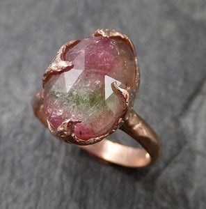 Fancy cut pink Tourmaline Rose Gold Ring Gemstone Solitaire recycled 14k statement cocktail statement 1216