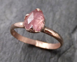 Fancy cut Pink Tourmaline Rose Gold Ring Gemstone Solitaire recycled 14k statement cocktail statement 1217
