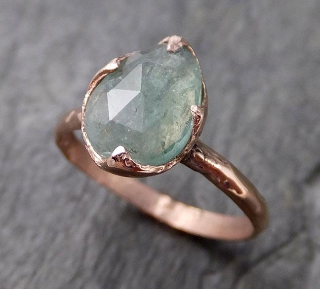 Fancy cut Green Tourmaline Rose Gold Ring Gemstone Solitaire recycled 14k statement cocktail statement 1218