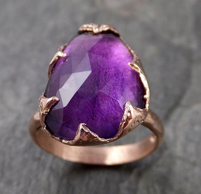 Fancy cut Amethyst Rose Gold Ring Gemstone Solitaire recycled 14k statement cocktail statement 1219