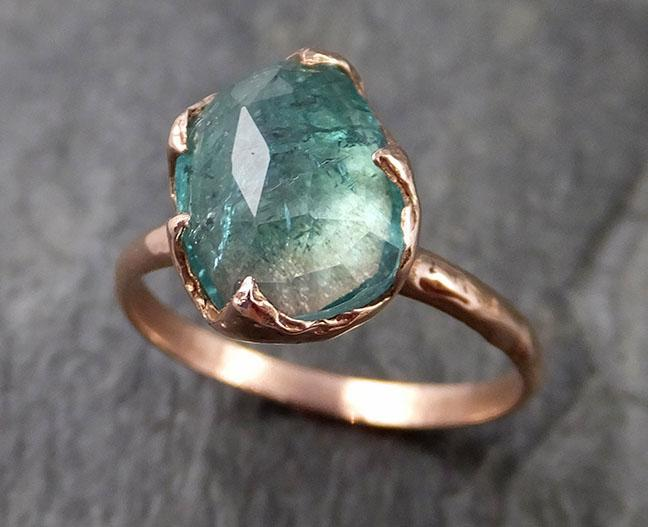 Fancy cut Green Tourmaline Rose Gold Ring Gemstone Solitaire recycled 14k statement cocktail statement 1222