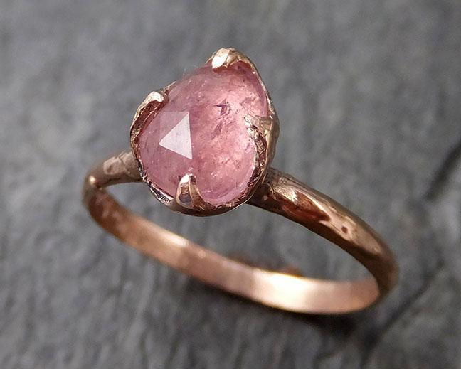 Fancy cut Pink Tourmaline Rose Gold Ring Gemstone Solitaire recycled 14k statement cocktail statement 1223