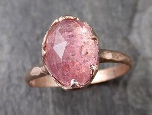 Fancy cut Pink Tourmaline Rose Gold Ring Gemstone Solitaire recycled 14k statement cocktail statement 1224