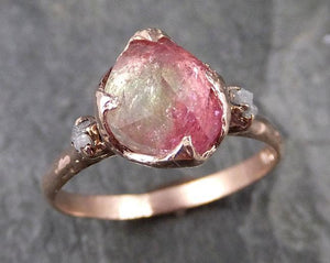 Fancy cut Pink Tourmaline Rose Gold Ring Gemstone Multi stone recycled 14k statement Engagement ring 1225