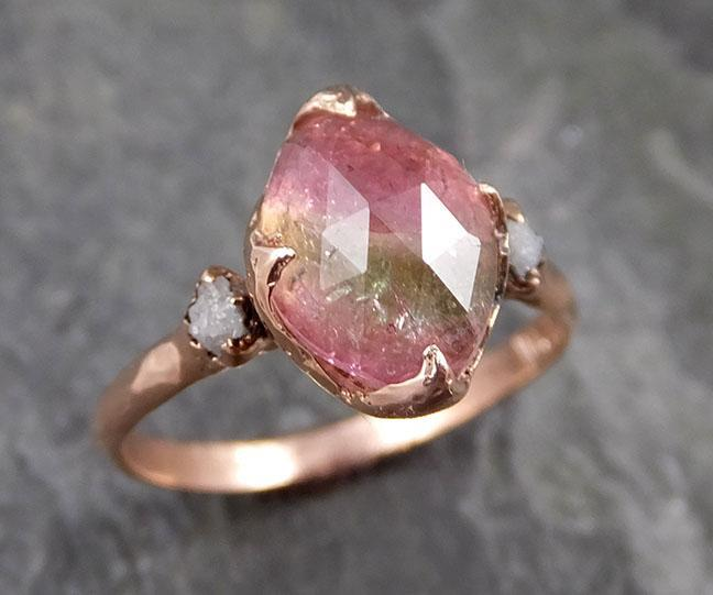 Fancy cut Pink Tourmaline Rose Gold Ring Gemstone Multi stone recycled 14k statement Engagement ring 1227
