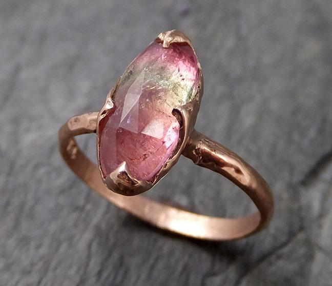 Fancy cut Pink Tourmaline Rose Gold Ring Gemstone Solitaire recycled 14k statement cocktail statement 1228