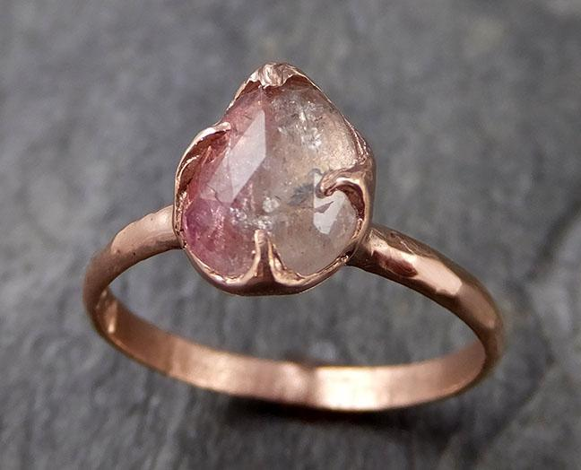 Fancy cut Pink Tourmaline Rose Gold Ring Gemstone Solitaire recycled 14k statement cocktail statement 1229