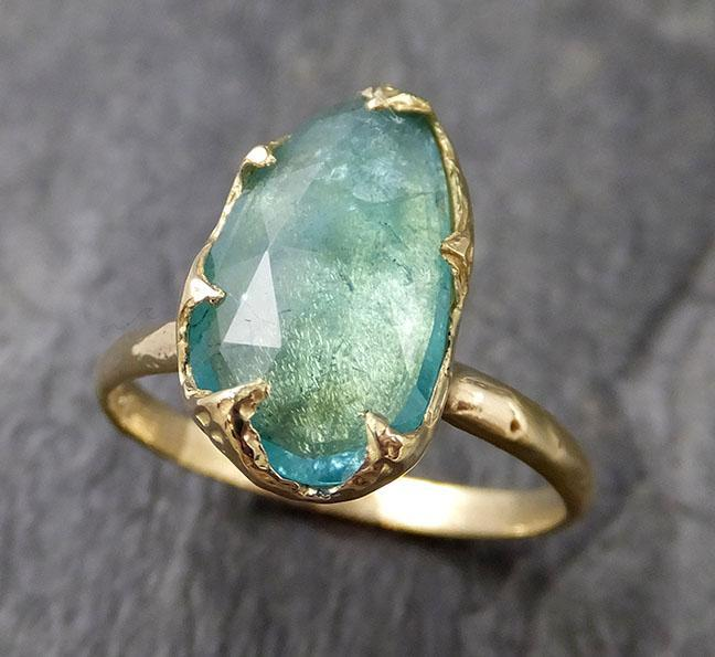 Fancy cut Blue Tourmaline 18k Gold Ring Gemstone Solitaire recycled statement cocktail statement 1230
