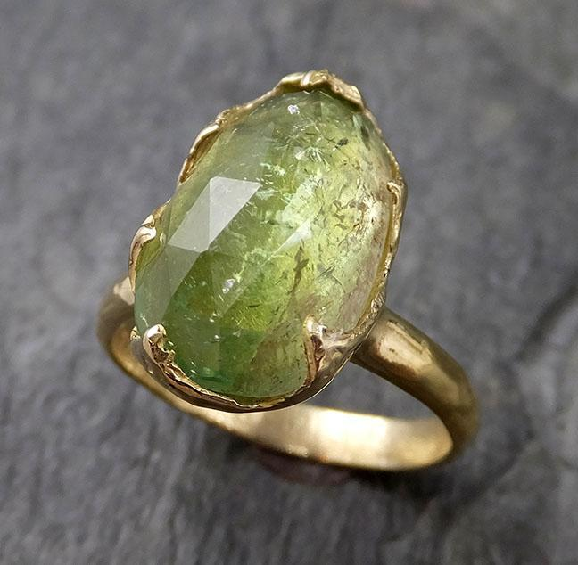Fancy cut Green Tourmaline Yellow 18k Gold Ring Gemstone Solitaire recycled statement cocktail statement 1231