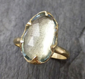 Fancy cut Aquamarine Yellow Gold Ring Gemstone Solitaire recycled 18k statement cocktail statement 1232