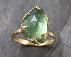 Fancy cut Green Tourmaline Yellow Gold Ring Gemstone Solitaire recycled 18k statement cocktail statement 1233