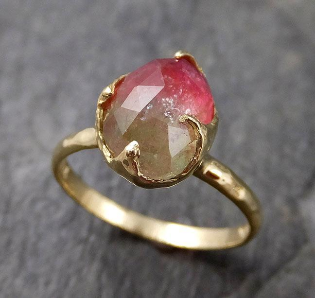 Fancy cut Watermelon Tourmaline Yellow Gold Ring Gemstone Solitaire recycled 18k statement cocktail statement 1236