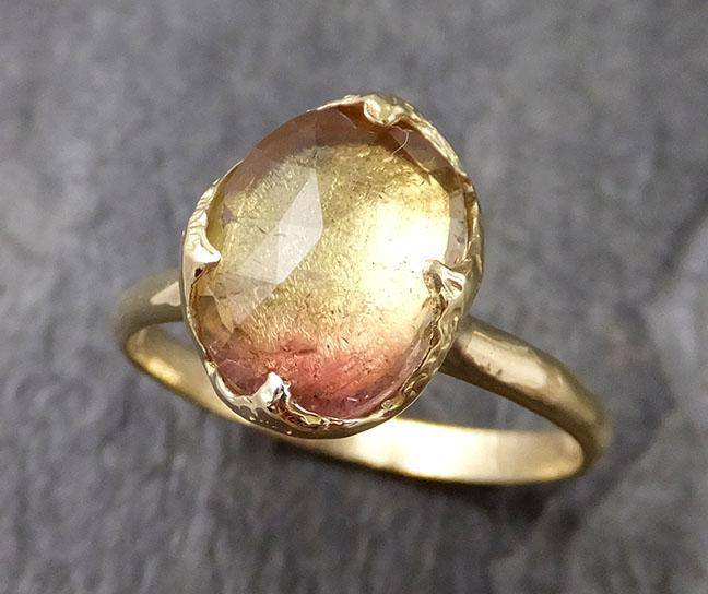 Fancy cut Watermelon Tourmaline Yellow Gold Ring Gemstone Solitaire recycled 18k statement cocktail statement 1234