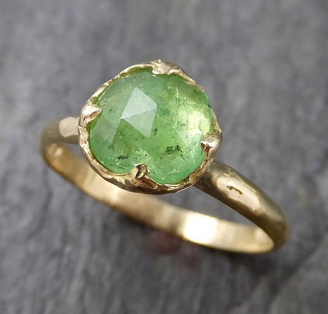 Fancy cut green Garnet Yellow Gold Ring Gemstone Solitaire recycled 18k statement cocktail statement 1235