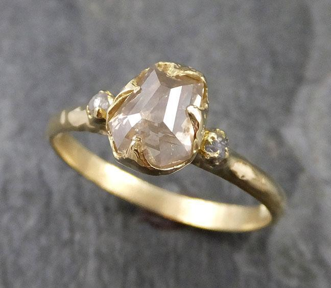 Fancy cut white Diamond Engagement 18k Yellow Gold Multi stone Wedding Ring Stacking Rough Diamond Ring byAngeline 1237