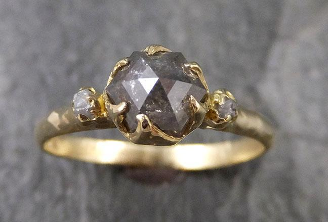 Fancy cut Gray Diamond Engagement 18k Yellow Gold Multi stone Wedding Ring Stacking Rough Diamond Ring byAngeline 1241
