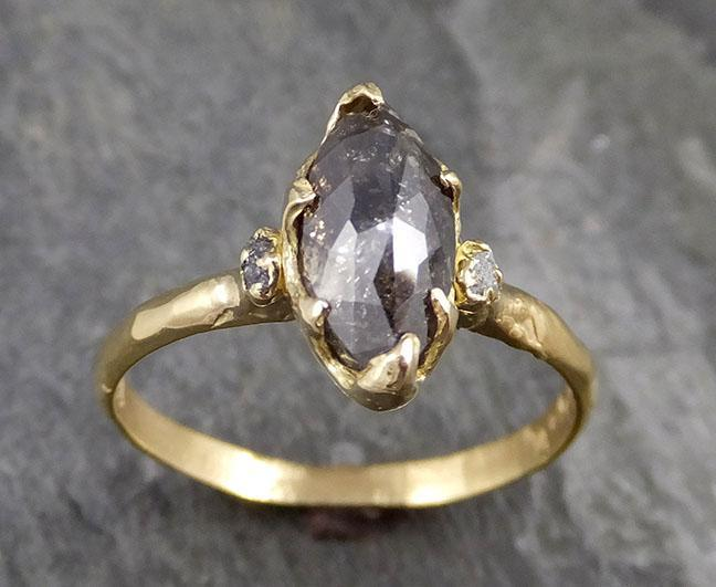 Fancy cut Salt and Pepper Diamond Engagement 18k Yellow Gold Multi stone Wedding Ring Stacking Rough Diamond Ring byAngeline 1242