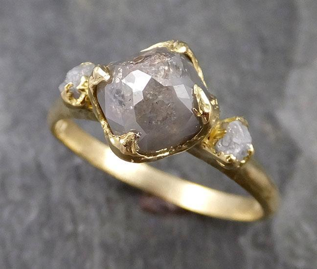 Fancy cut Gray Diamond Engagement 18k Yellow Gold Multi stone Wedding Ring Stacking Rough Diamond Ring byAngeline 1243