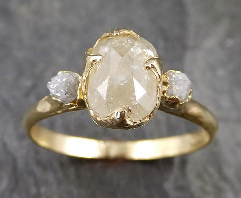 Fancy cut White Diamond Engagement 18k Yellow Gold Multi stone Wedding Ring Stacking Rough Diamond Ring byAngeline 1244