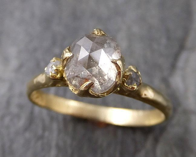Fancy cut white Diamond Engagement 18k Yellow Gold Multi stone Wedding Ring Stacking Rough Diamond Ring byAngeline 1245