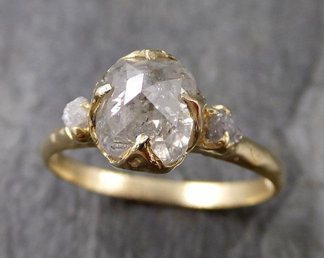 Fancy cut white Diamond Engagement 18k Yellow Gold Multi stone Wedding Ring Stacking Rough Diamond Ring byAngeline 1246