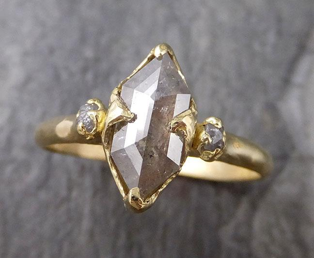 Fancy cut white Diamond Engagement 18k Yellow Gold Multi stone Wedding Ring Stacking Rough Diamond Ring byAngeline 1247