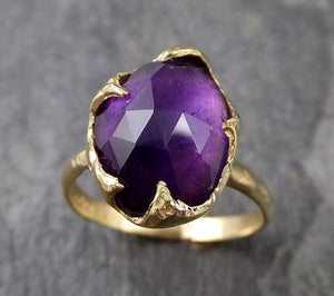 Fancy cut Amethyst Yellow Gold Ring Gemstone Solitaire recycled 18k statement cocktail statement 1248