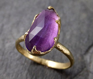 Fancy cut Amethyst Yellow Gold Ring Gemstone Solitaire recycled 18k statement cocktail statement 1249
