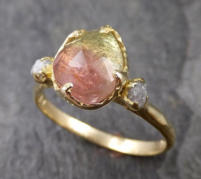 Fancy cut Watermelon Tourmaline Yellow Gold Ring Gemstone Solitaire recycled 18k statement cocktail statement 1250