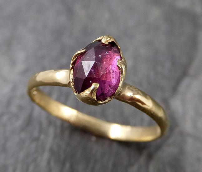Fancy cut Garnet Yellow Gold Ring Gemstone Solitaire recycled 18k statement cocktail statement 1251
