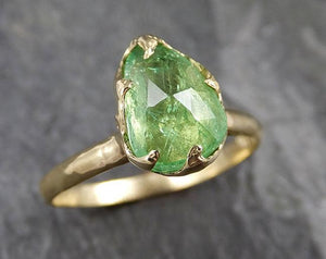 Fancy cut green Garnet Yellow Gold Ring Gemstone Solitaire recycled 18k statement cocktail statement 1253