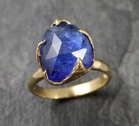 Fancy cut Tanzanite Crystal Solitaire 18k recycled yellow Gold Ring Tanzanite stacking cocktail statement byAngeline 1252