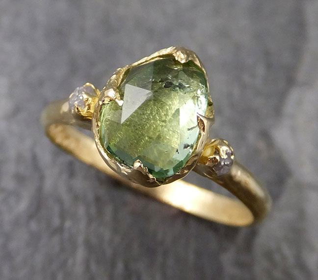 Fancy cut Green Tourmaline Yellow Gold Ring Gemstone Multi stone recycled 18k statement Engagement ring 1254