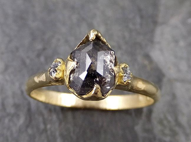 Fancy cut salt and pepper Diamond Engagement 18k yellow Gold Multi stone rough Diamond Wedding Ring  byAngeline 1255