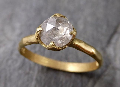 Fancy cut white Diamond Solitaire Engagement 18k yellow Gold Wedding Ring byAngeline 1256