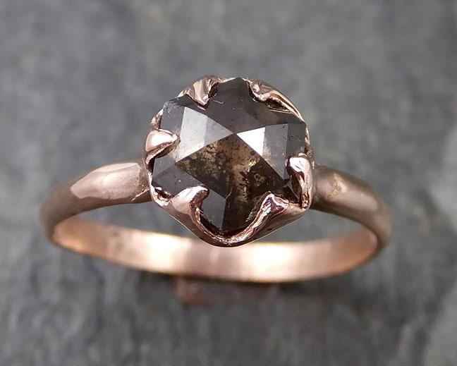 Fancy cut Salt and pepper Solitaire Diamond Engagement 14k Rose Gold Wedding Ring byAngeline 1259