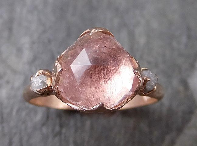 Fancy cut Pink Tourmaline Rose Gold Ring Gemstone Multi stone recycled 14k statement Engagement ring 1260