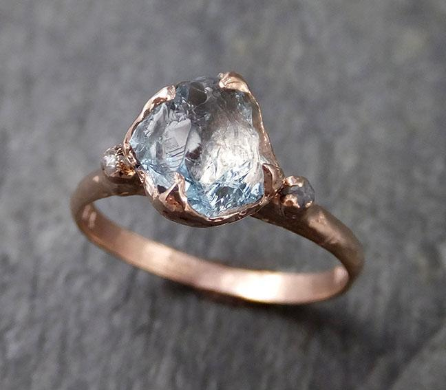 Aquamarine Diamond Raw Uncut rose 14k Gold Engagement Ring Multi stone Wedding Ring Custom One Of a Kind Gemstone Bespoke byAngeline 1261