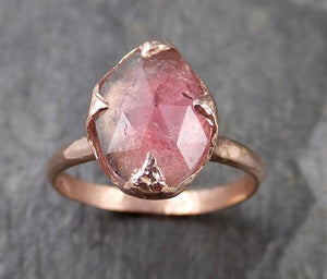 Fancy cut Pink Tourmaline Rose Gold Ring Gemstone Solitaire recycled 14k statement Engagement ring 1262