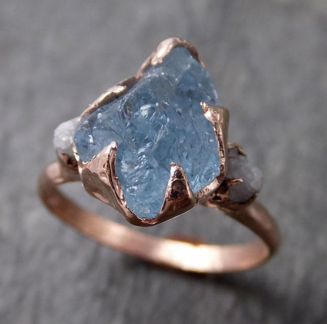 Aquamarine Diamond Raw Uncut rose 14k Gold Engagement Ring Multi stone Wedding Ring Custom One Of a Kind Gemstone Bespoke byAngeline 1264