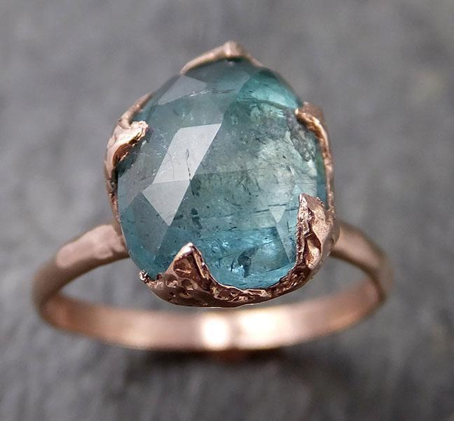 Fancy cut Blue Tourmaline 14k Rose Gold Ring Gemstone Solitaire recycled statement cocktail statement 1267